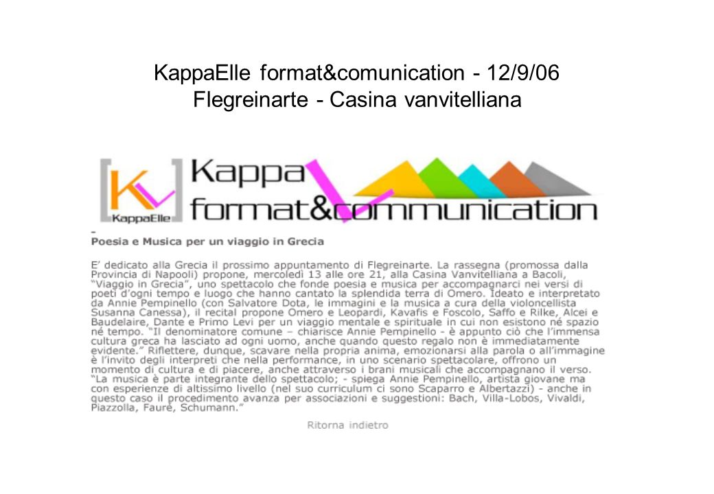 KappaElle format&comunication - 12/9/06 Flegreinarte - Casina vanvitelliana