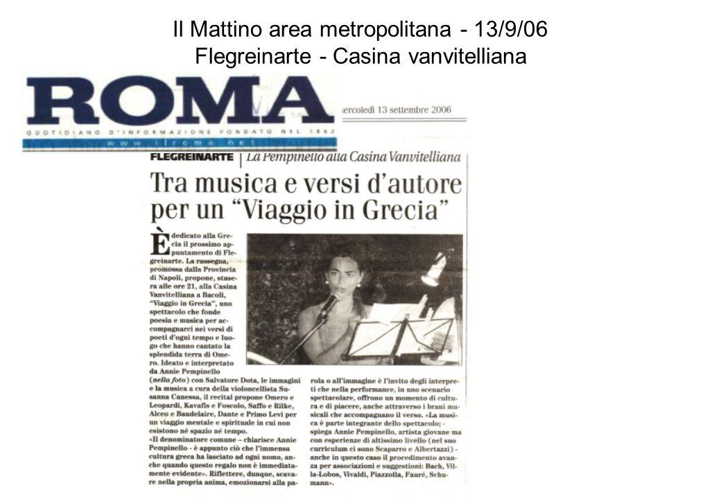 Il Mattino area metropolitana - 13/9/06 Flegreinarte - Casina vanvitelliana