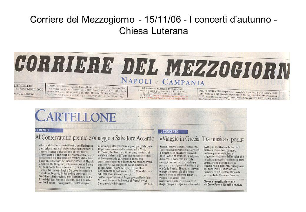 Corriere del Mezzogiorno - 15/11/06 - I concerti dautunno - Chiesa Luterana