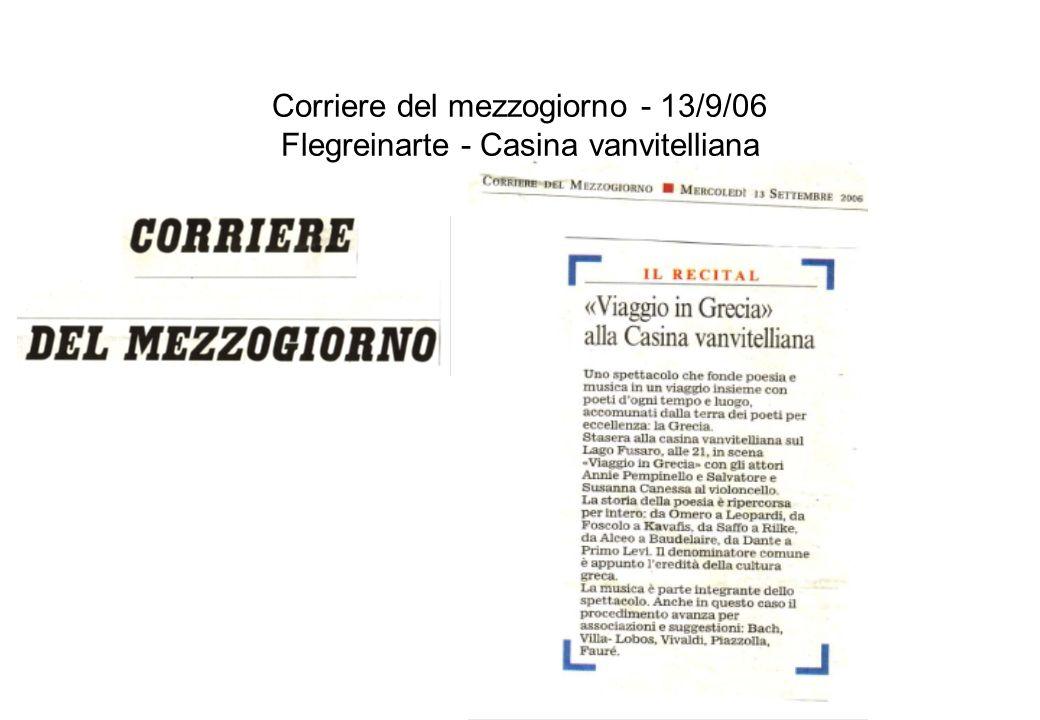 Corriere del mezzogiorno - 13/9/06 Flegreinarte - Casina vanvitelliana