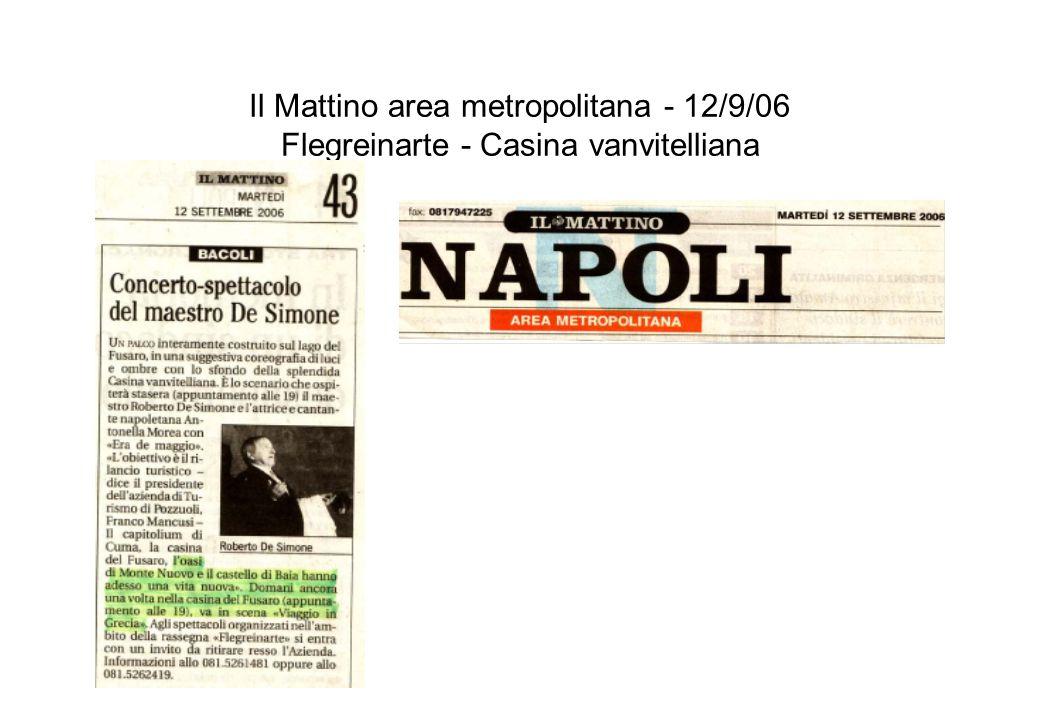 Il Mattino area metropolitana - 12/9/06 Flegreinarte - Casina vanvitelliana