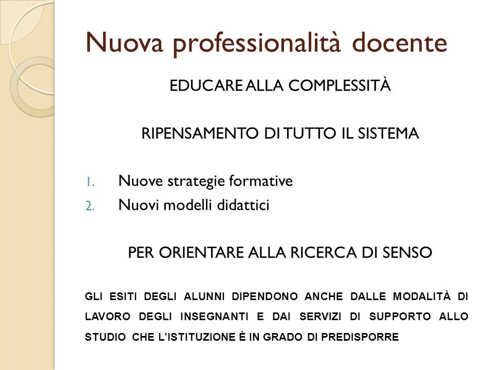 EDUCARE ALLA COMPLESSITÀ RIPENSAMENTO DI TUTTO IL SISTEMA 1. Nuove strategie formative 2. Nuovi modelli didattici PER ORIENTARE ALLA RICERCA DI SENSO