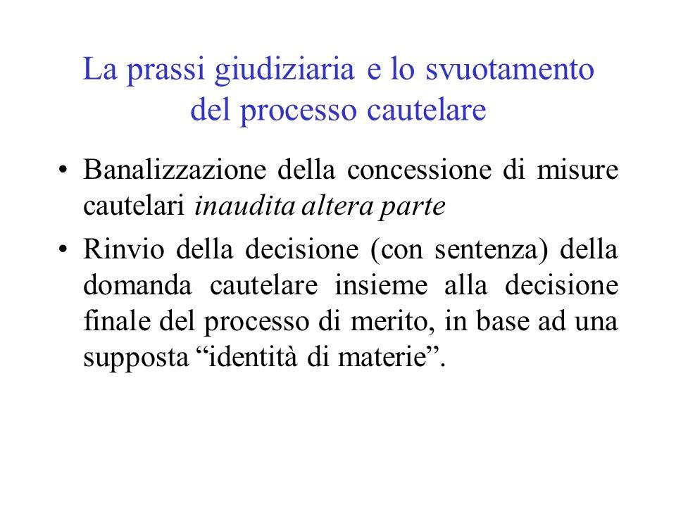 La prassi giudiziaria e lo svuotamento del processo cautelare Banalizzazione della concessione di misure cautelari inaudita altera parte Rinvio della