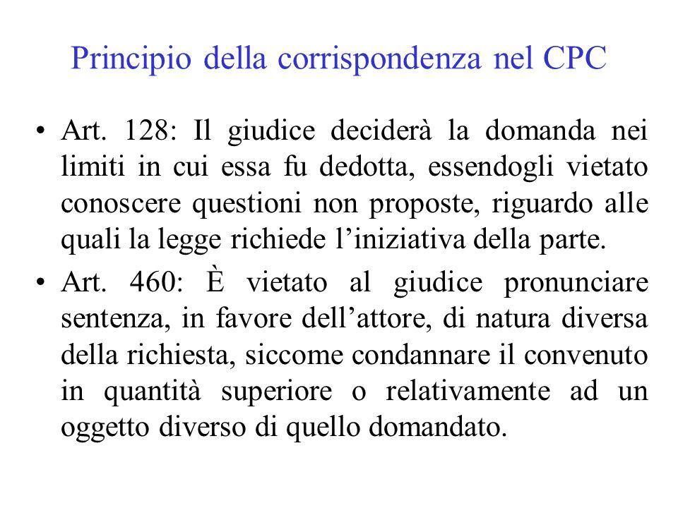Principio della corrispondenza nel CPC Art. 128: Il giudice deciderà la domanda nei limiti in cui essa fu dedotta, essendogli vietato conoscere questi