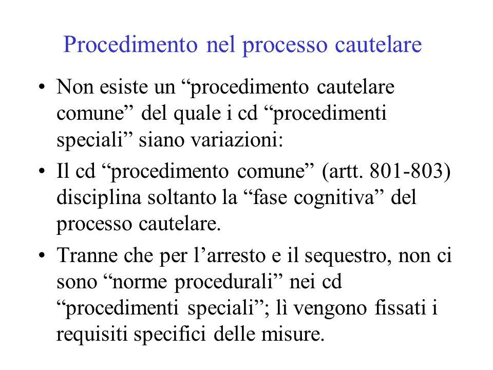 Procedimento nel processo cautelare Non esiste un procedimento cautelare comune del quale i cd procedimenti speciali siano variazioni: Il cd procedimento comune (artt.