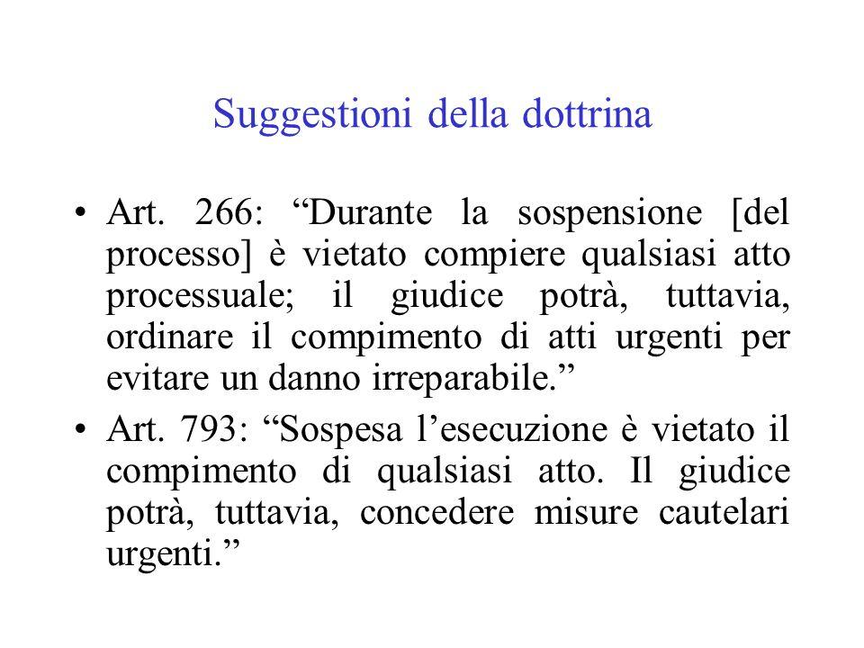 Suggestioni della dottrina Art. 266: Durante la sospensione [del processo] è vietato compiere qualsiasi atto processuale; il giudice potrà, tuttavia,