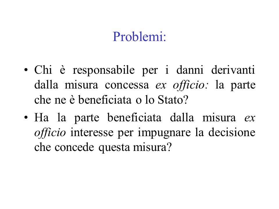 Problemi: Chi è responsabile per i danni derivanti dalla misura concessa ex officio: la parte che ne è beneficiata o lo Stato? Ha la parte beneficiata