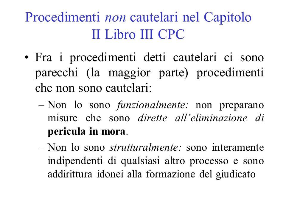 Procedimenti non cautelari nel Capitolo II Libro III CPC Fra i procedimenti detti cautelari ci sono parecchi (la maggior parte) procedimenti che non s