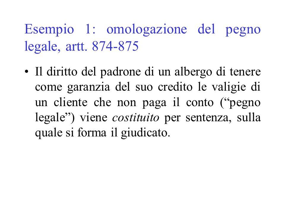 Esempio 1: omologazione del pegno legale, artt. 874-875 Il diritto del padrone di un albergo di tenere come garanzia del suo credito le valigie di un