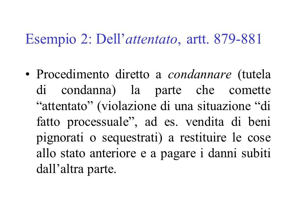 Esempio 2: Dellattentato, artt. 879-881 Procedimento diretto a condannare (tutela di condanna) la parte che comette attentato (violazione di una situa