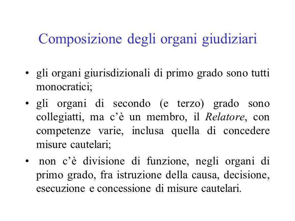 Composizione degli organi giudiziari gli organi giurisdizionali di primo grado sono tutti monocratici; gli organi di secondo (e terzo) grado sono coll