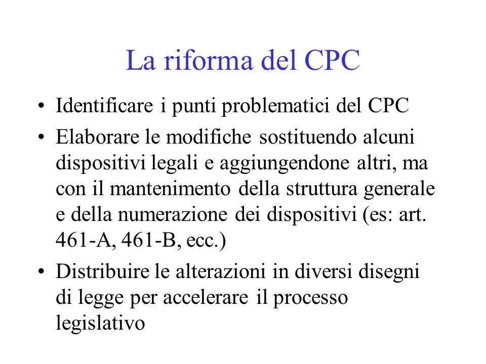 La riforma del CPC Identificare i punti problematici del CPC Elaborare le modifiche sostituendo alcuni dispositivi legali e aggiungendone altri, ma co