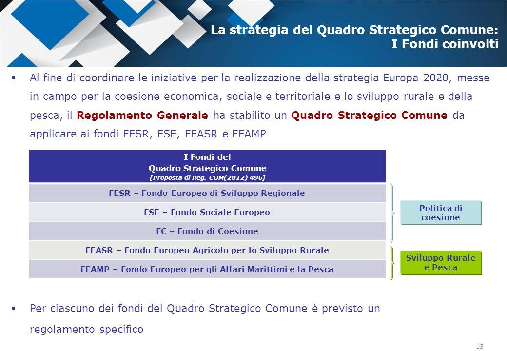 13 Al fine di coordinare le iniziative per la realizzazione della strategia Europa 2020, messe in campo per la coesione economica, sociale e territori