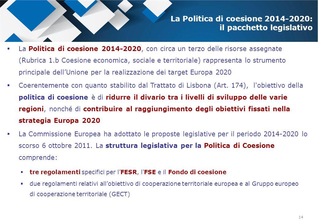 14 La Politica di coesione 2014-2020, con circa un terzo delle risorse assegnate (Rubrica 1.b Coesione economica, sociale e territoriale) rappresenta