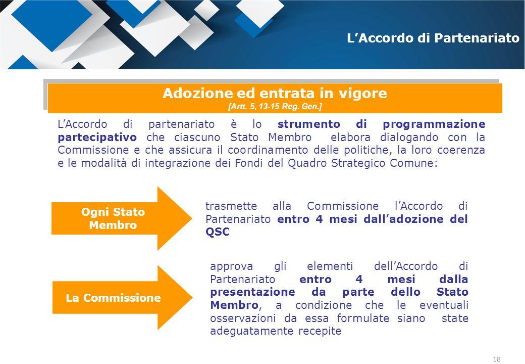 18 LAccordo di partenariato è lo strumento di programmazione partecipativo che ciascuno Stato Membro elabora dialogando con la Commissione e che assic