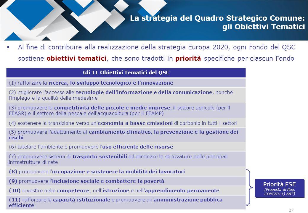 27 Al fine di contribuire alla realizzazione della strategia Europa 2020, ogni Fondo del QSC sostiene obiettivi tematici, che sono tradotti in priorit
