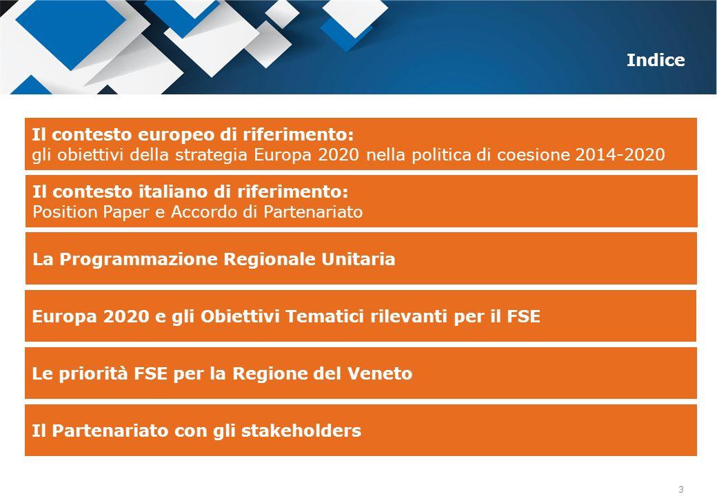 3 La Programmazione Regionale Unitaria Le priorità FSE per la Regione del Veneto Indice Il Partenariato con gli stakeholders Europa 2020 e gli Obietti