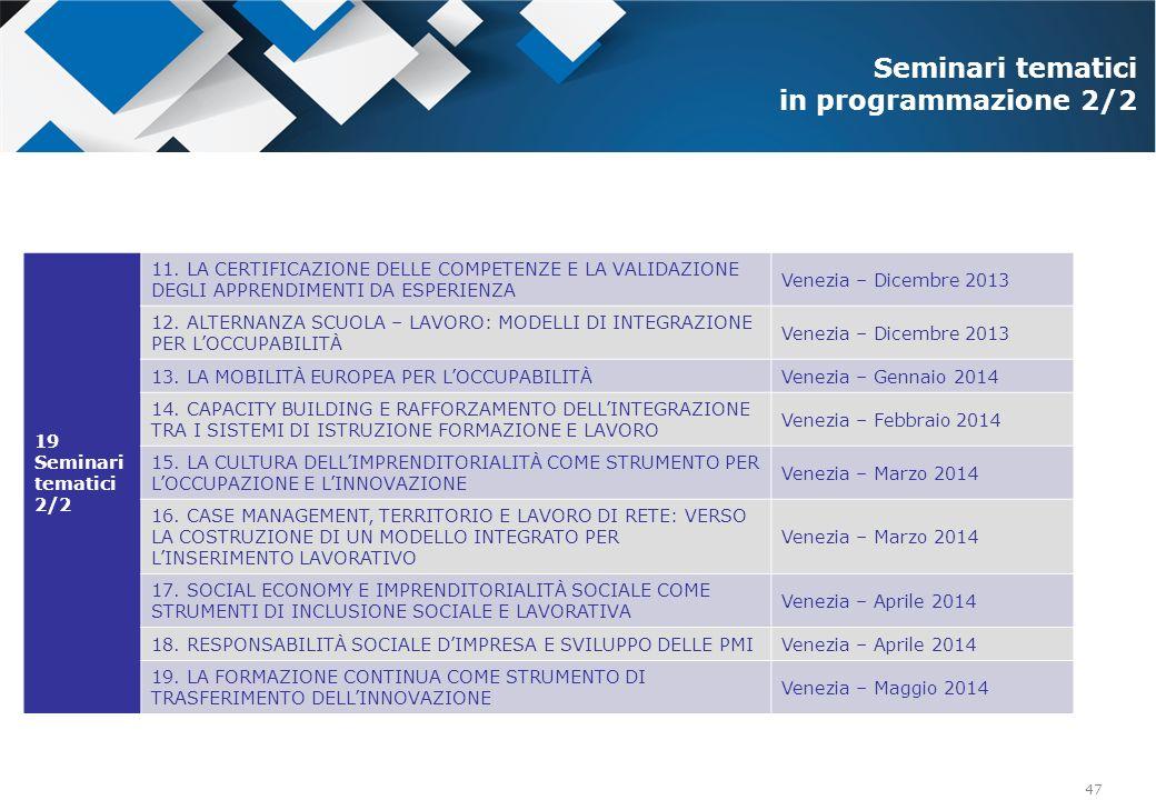 47 19 Seminari tematici 2/2 11. LA CERTIFICAZIONE DELLE COMPETENZE E LA VALIDAZIONE DEGLI APPRENDIMENTI DA ESPERIENZA Venezia – Dicembre 2013 12. ALTE