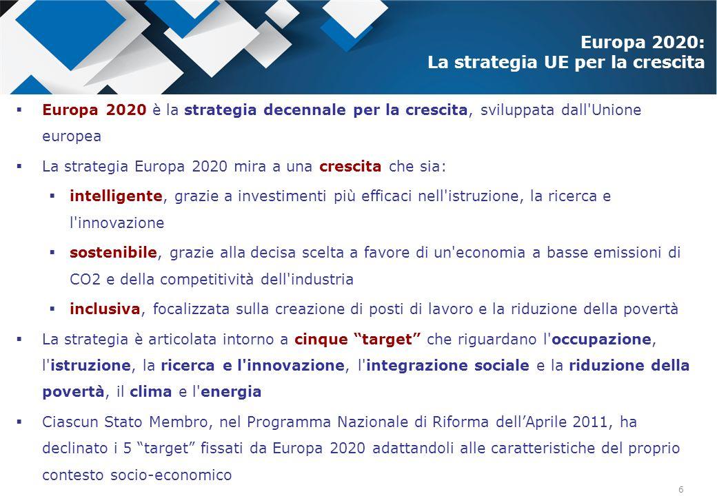 7 % di investimenti in Ricerca e Sviluppo 3% 1,53% Spesa Veneto 2010: 1,04%* Spesa Veneto 2010: 1,04%* crescita intelligente sviluppare una economia basata sulla conoscenza e sullinnovazione crescita intelligente sviluppare una economia basata sulla conoscenza e sullinnovazione *Fonte: Elaborazioni Regione Veneto - Direzione Sistema Statistico Regionale su dati Eurostat e Istat % di giovani che lasciano gli studi <10% 15-16% Popolazione 18-24 Veneto 2012: 14,2%* Popolazione 18-24 Veneto 2012: 14,2%* % di laureati di 30- 34 anni 40% 26-27% Popolazione 30-34 Veneto 2012: 21,4%* Popolazione 30-34 Veneto 2012: 21,4%* crescita sostenibile promuovere un economia più efficiente sotto il profilo delle risorse, più verde e più competitiva crescita sostenibile promuovere un economia più efficiente sotto il profilo delle risorse, più verde e più competitiva % di energia da fonti rinnovabili sul consumo finale 20% 17% % Italia sul consumo finale: 11,5%* Tasso di occupazione tra 20 e 64 anni 75% 67-69% Occupazione 20-64 Veneto 2012 69,3%* Occupazione 20-64 Veneto 2012 69,3%* crescita inclusiva promuovere un economia con un alto tasso di occupazione (miglioramento delle capacità lavorative, lotta all esclusione ed alla povertà) crescita inclusiva promuovere un economia con un alto tasso di occupazione (miglioramento delle capacità lavorative, lotta all esclusione ed alla povertà) Popolazione a rischio povertà o esclusione sociale riduzione di 20 mln riduzione di 2,2mln Popolazione a rischio Veneto 2011: 786.000; 15,9%* Popolazione a rischio Veneto 2011: 786.000; 15,9%* Target UE Target Italia La Strategia Europa 2020: I target da raggiungere entro il 2020 Stato dellArte