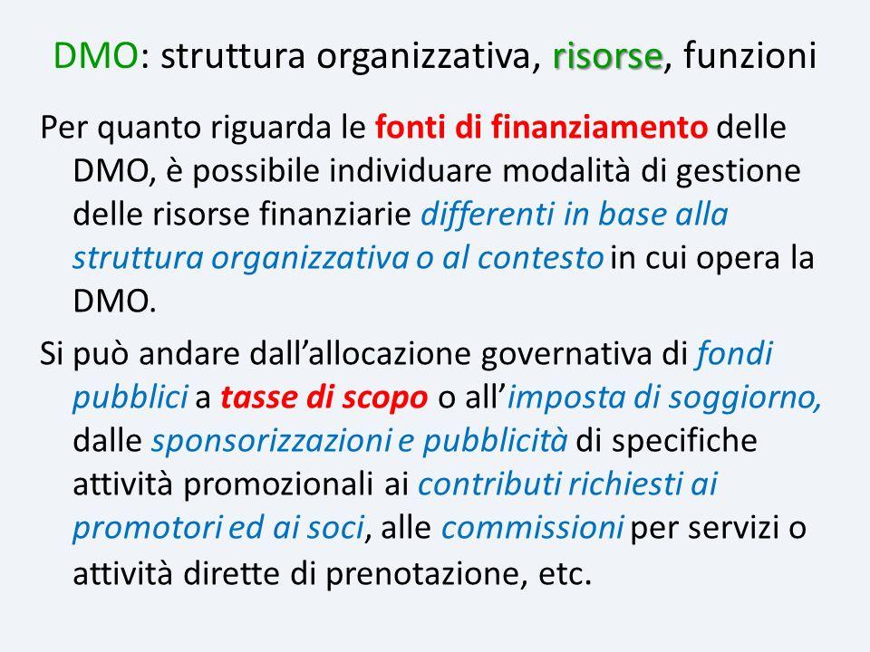 Per quanto riguarda le fonti di finanziamento delle DMO, è possibile individuare modalità di gestione delle risorse finanziarie differenti in base all
