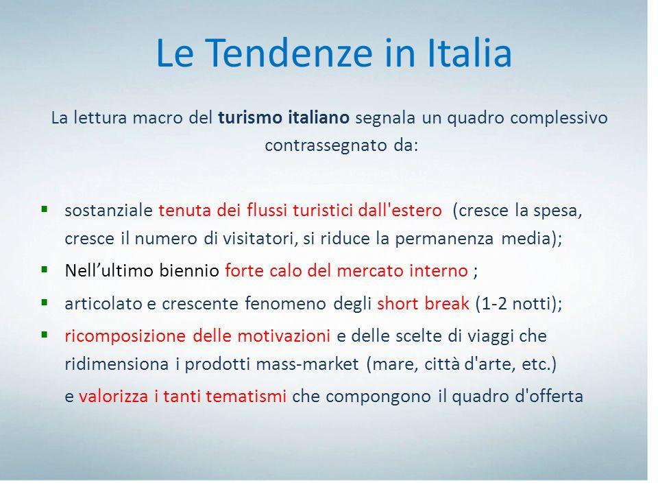 Le Tendenze in Italia La lettura macro del turismo italiano segnala un quadro complessivo contrassegnato da: sostanziale tenuta dei flussi turistici d