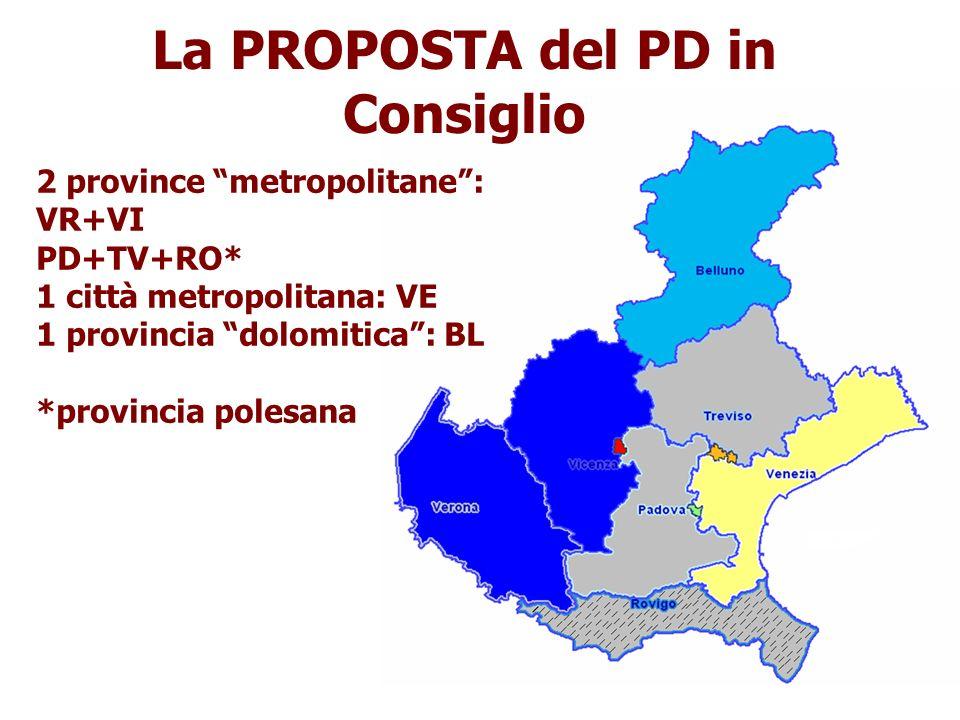 La PROPOSTA del PD in Consiglio 2 province metropolitane: VR+VI PD+TV+RO* 1 città metropolitana: VE 1 provincia dolomitica: BL *provincia polesana