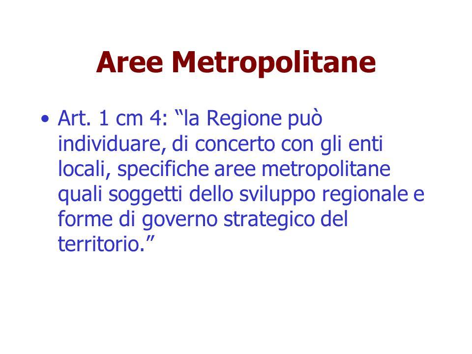 Aree Metropolitane Art. 1 cm 4: la Regione può individuare, di concerto con gli enti locali, specifiche aree metropolitane quali soggetti dello svilup