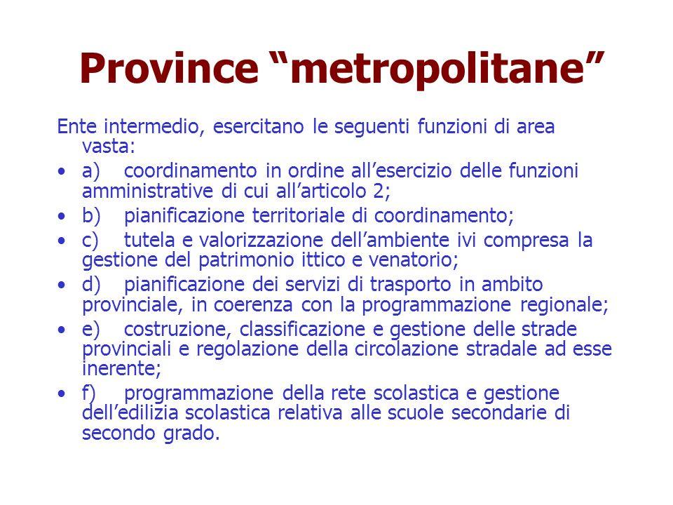 Province metropolitane Ente intermedio, esercitano le seguenti funzioni di area vasta: a)coordinamento in ordine allesercizio delle funzioni amministr