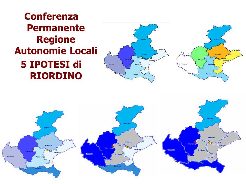 Conferenza Permanente Regione Autonomie Locali 5 IPOTESI di RIORDINO