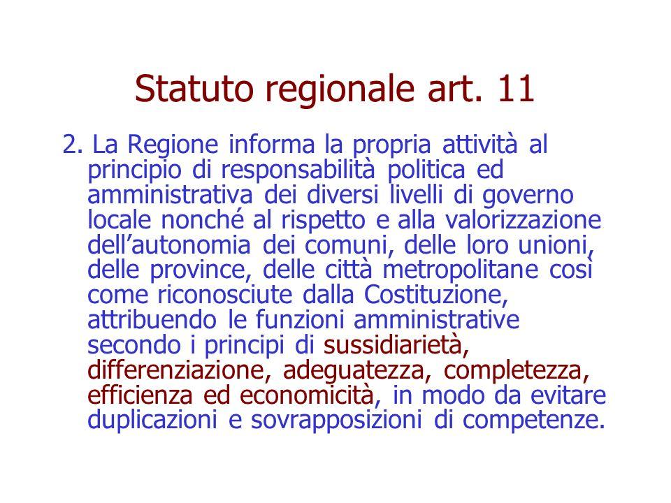 Statuto regionale art. 11 2. La Regione informa la propria attività al principio di responsabilità politica ed amministrativa dei diversi livelli di g