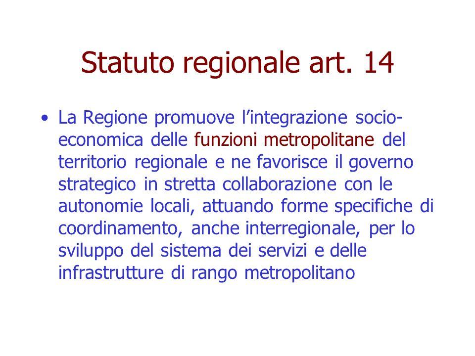 Statuto regionale art. 14 La Regione promuove lintegrazione socio- economica delle funzioni metropolitane del territorio regionale e ne favorisce il g