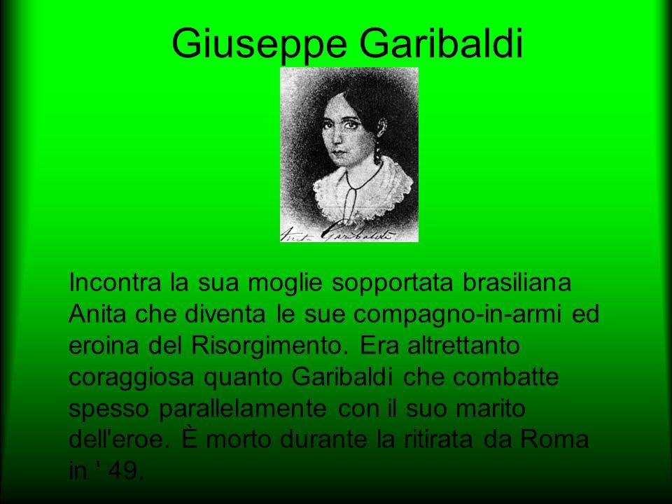 Giuseppe Garibaldi Incontra la sua moglie sopportata brasiliana Anita che diventa le sue compagno-in-armi ed eroina del Risorgimento. Era altrettanto