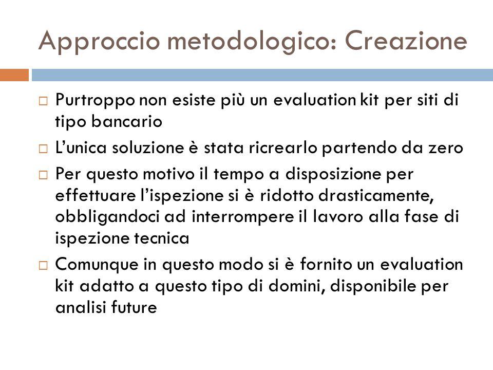 Approccio metodologico: Creazione Purtroppo non esiste più un evaluation kit per siti di tipo bancario Lunica soluzione è stata ricrearlo partendo da