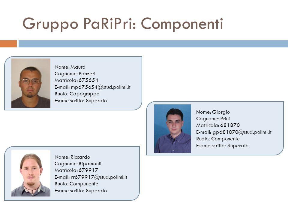 Gruppo PaRiPri: Componenti Nome: Mauro Cognome: Panzeri Matricola: 675654 E-mail: mp675654@stud.polimi.it Ruolo: Capogruppo Esame scritto: Superato No