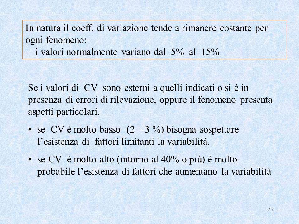 26 Il coefficiente di variazione CV Il CV è una misura relativa di dispersione (le precedenti sono misure assolute) ed è una grandezza adimensionale.