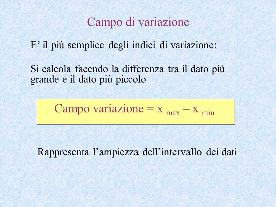 7 Campo variazione = x max – x min Campo di variazione E il più semplice degli indici di variazione: Si calcola facendo la differenza tra il dato più grande e il dato più piccolo Rappresenta lampiezza dellintervallo dei dati