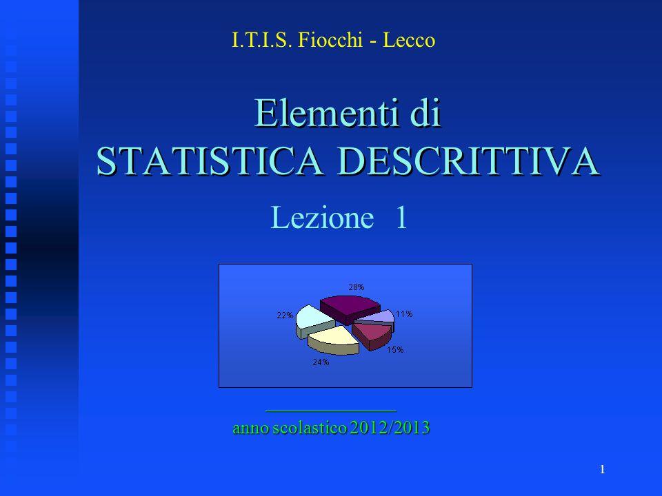 1 Elementi di STATISTICA DESCRITTIVA ______________ anno scolastico 2012/2013 I.T.I.S.