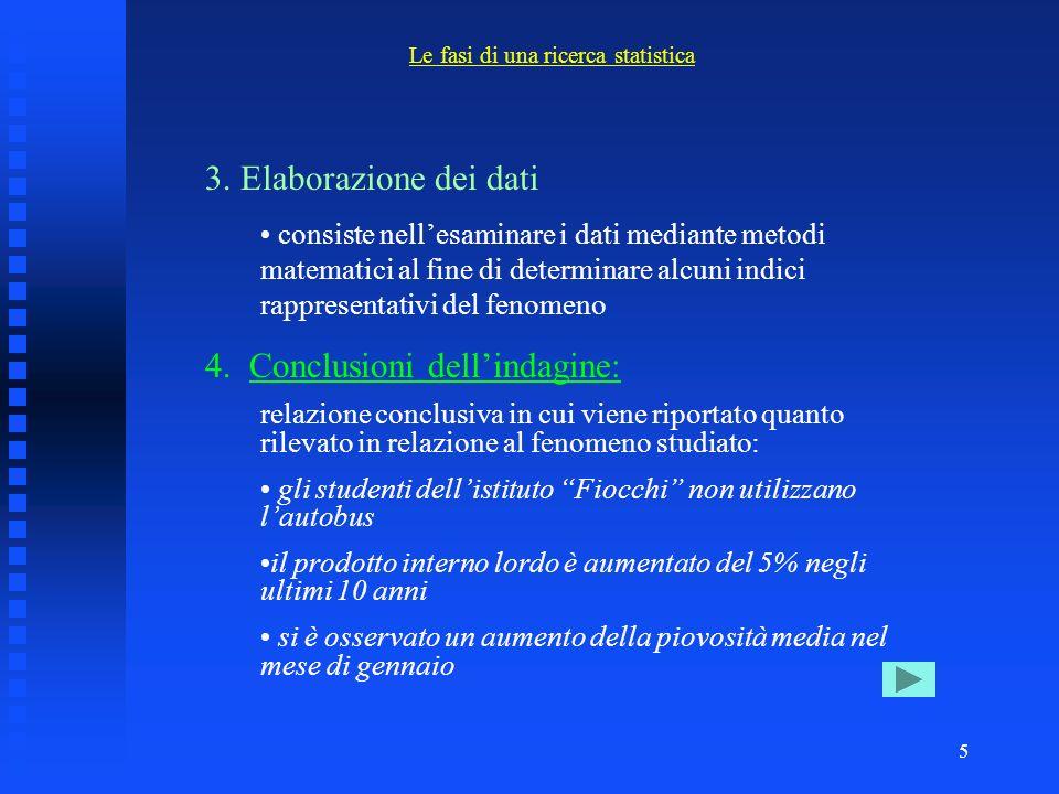 4 1. Studio del problema e impostazione della ricerca statistica: scopo della ricerca, definizione del fenomeno che vogliamo studiare, ipotesi che si