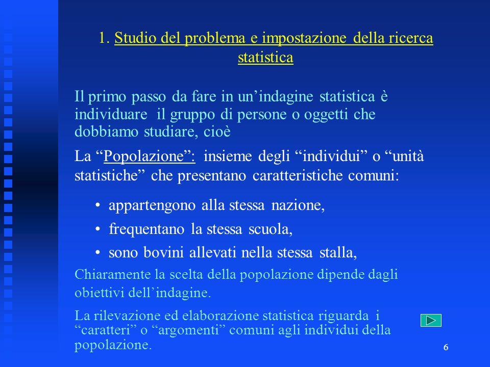 5 3. Elaborazione dei dati consiste nellesaminare i dati mediante metodi matematici al fine di determinare alcuni indici rappresentativi del fenomeno