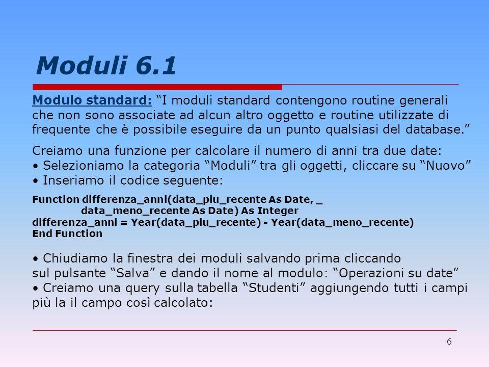 6 Moduli 6.1 Modulo standard: I moduli standard contengono routine generali che non sono associate ad alcun altro oggetto e routine utilizzate di freq