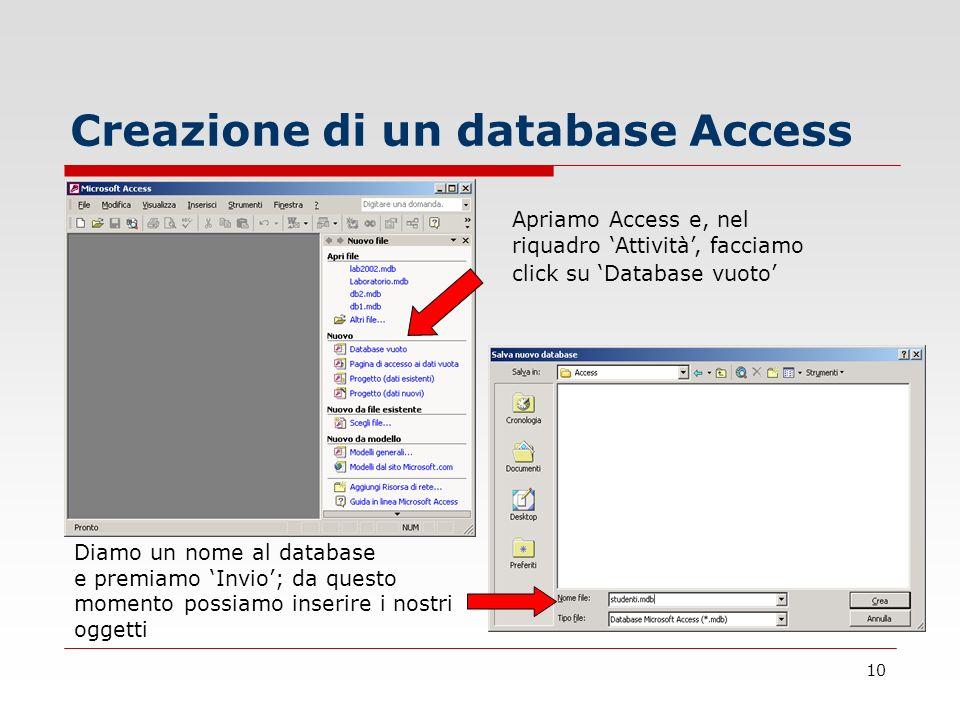 10 Creazione di un database Access Apriamo Access e, nel riquadro Attività, facciamo click su Database vuoto Diamo un nome al database e premiamo Invi
