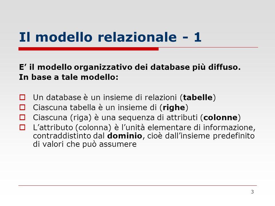 4 Il modello relazionale - 2 Esemplificando, vediamo le caratteristiche definite nella diapositiva precedente in riferimento alla relazione (tabella) esami superati da studenti universitari: matricolainsegnamentodatavotolode 0000011Statistica 111/11/200227 0000012Diritto Commerciale14/12/200130SI ESAMI (riga) Attributo (colonna) Il Dominio è costituito dai valori che voto può assumere, cioè 18, 19 … 29, 30.