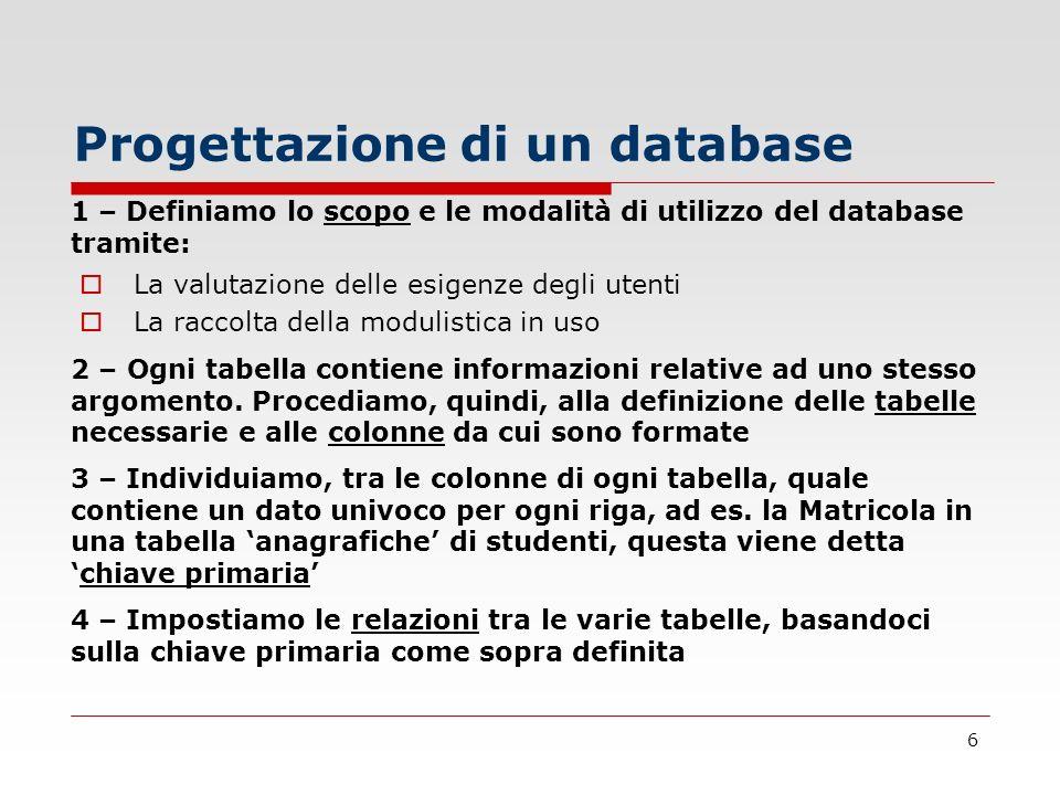 6 La valutazione delle esigenze degli utenti La raccolta della modulistica in uso Progettazione di un database 1 – Definiamo lo scopo e le modalità di