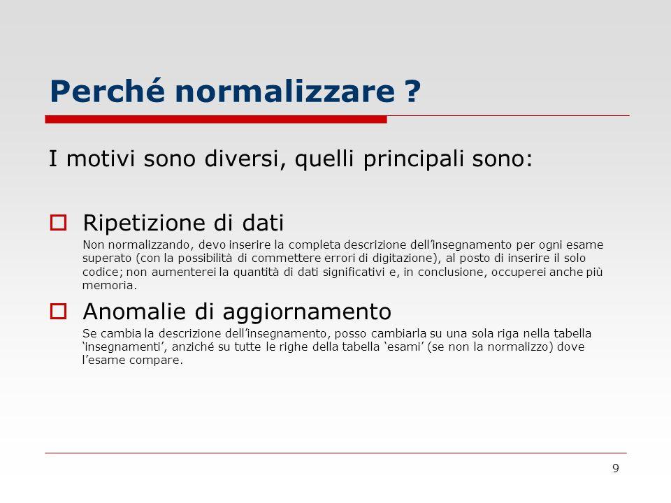 9 Perché normalizzare ? I motivi sono diversi, quelli principali sono: Ripetizione di dati Non normalizzando, devo inserire la completa descrizione de
