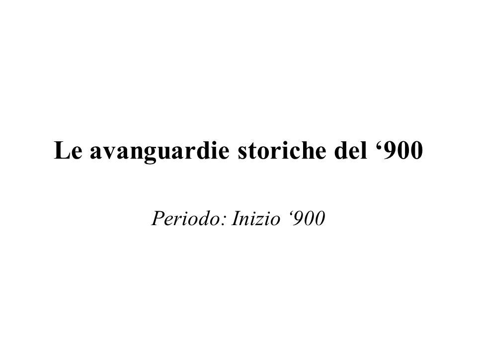 Le avanguardie storiche del 900 Periodo: Inizio 900