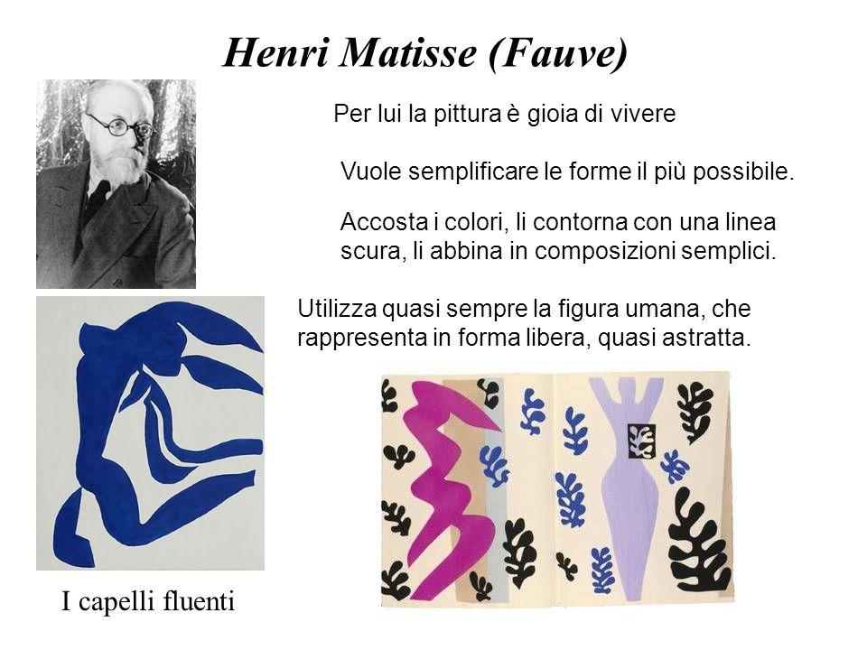Henri Matisse (Fauve) Per lui la pittura è gioia di vivere Vuole semplificare le forme il più possibile. Accosta i colori, li contorna con una linea s