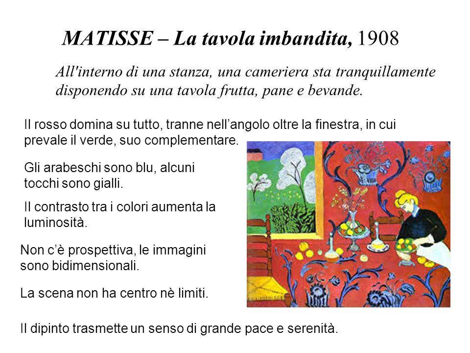 MATISSE – La tavola imbandita, 1908 Il rosso domina su tutto, tranne nellangolo oltre la finestra, in cui prevale il verde, suo complementare. Gli ara