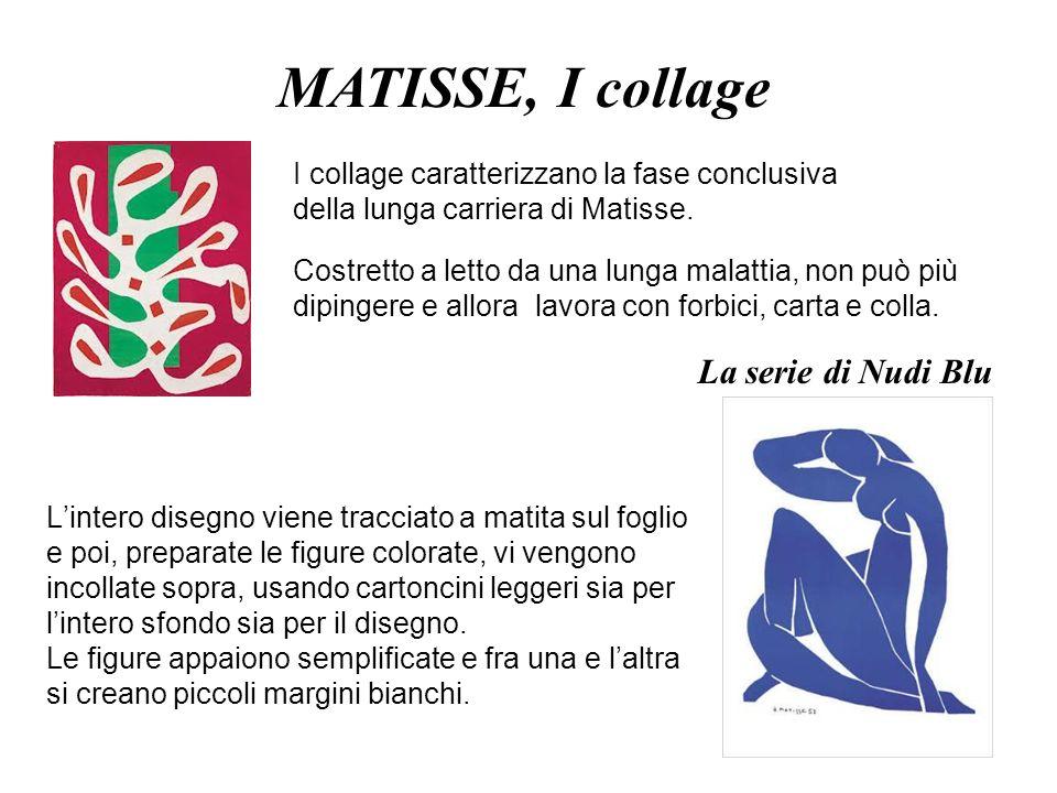 I collage caratterizzano la fase conclusiva della lunga carriera di Matisse. Costretto a letto da una lunga malattia, non può più dipingere e allora l