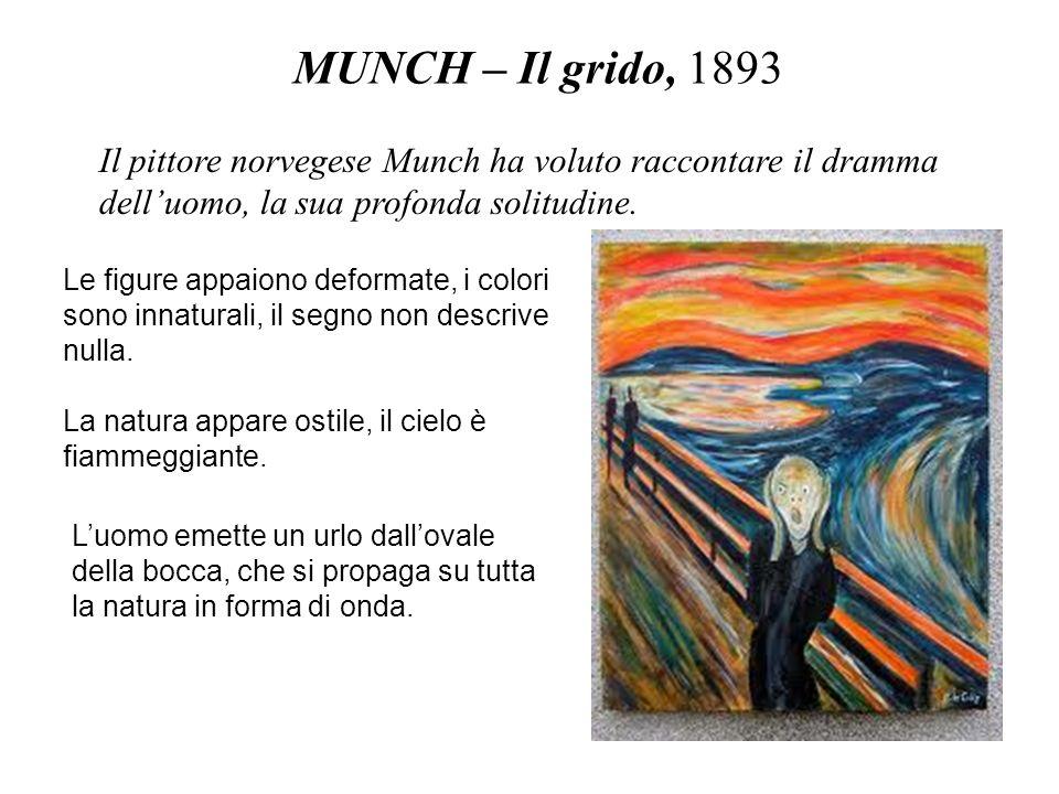 MUNCH – Il grido, 1893 Il pittore norvegese Munch ha voluto raccontare il dramma delluomo, la sua profonda solitudine. Le figure appaiono deformate, i