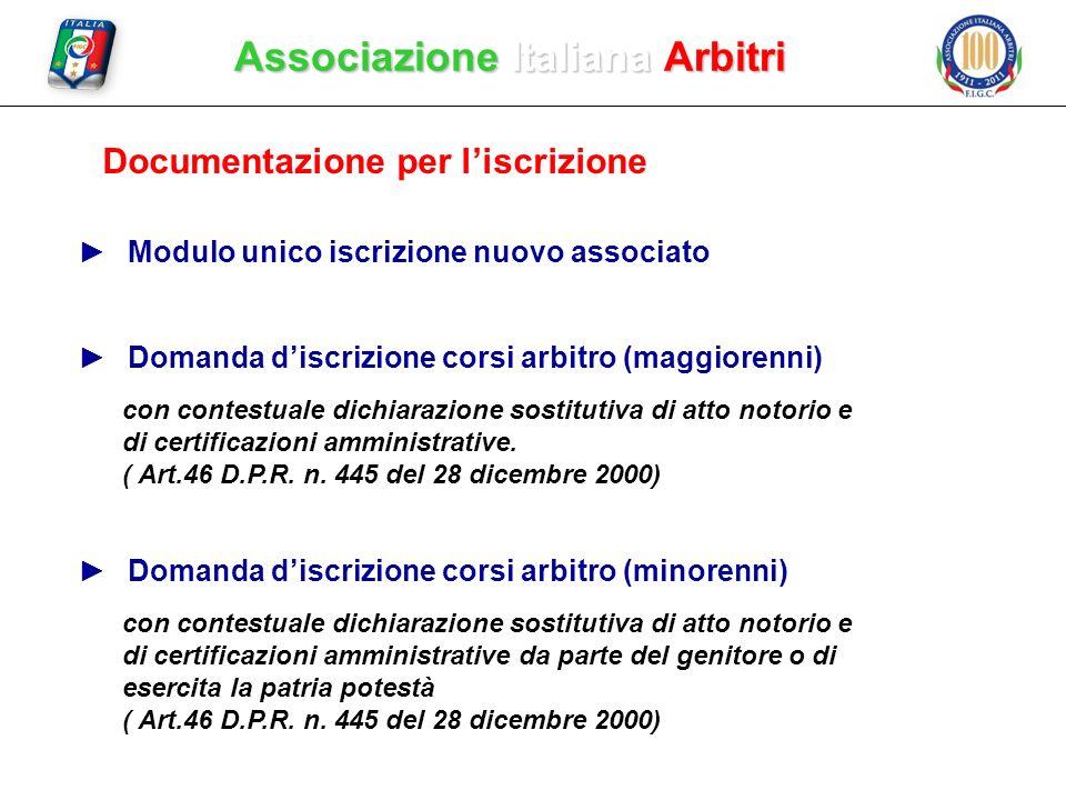 Associazione Italiana Arbitri Documentazione per liscrizione Domanda discrizione corsi arbitro (maggiorenni) con contestuale dichiarazione sostitutiva